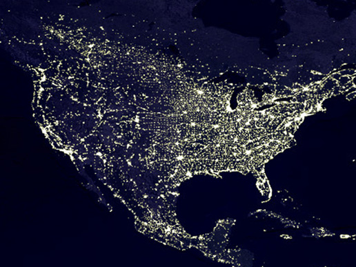 Night view of lights across North America