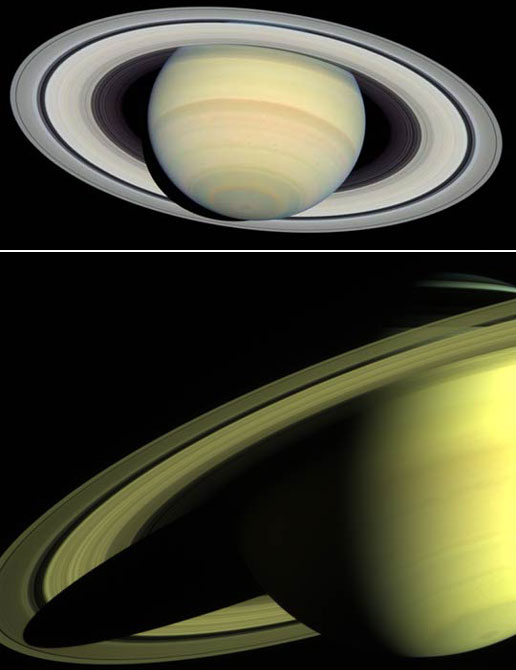 Photos of Saturn from Hubble and Cassini