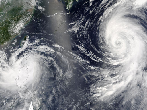 NASA satellite photographs Pacific typhoons