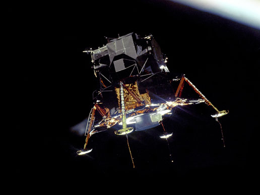 Apollo 11 lunar module Eagle orbits the moon
